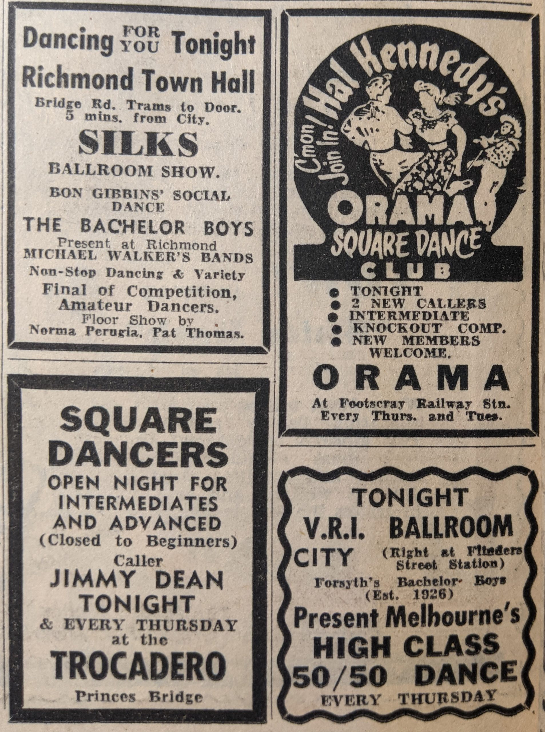 Dance advertisements, The Herald, 25 June 1953, p22. Via State Library of Victoria