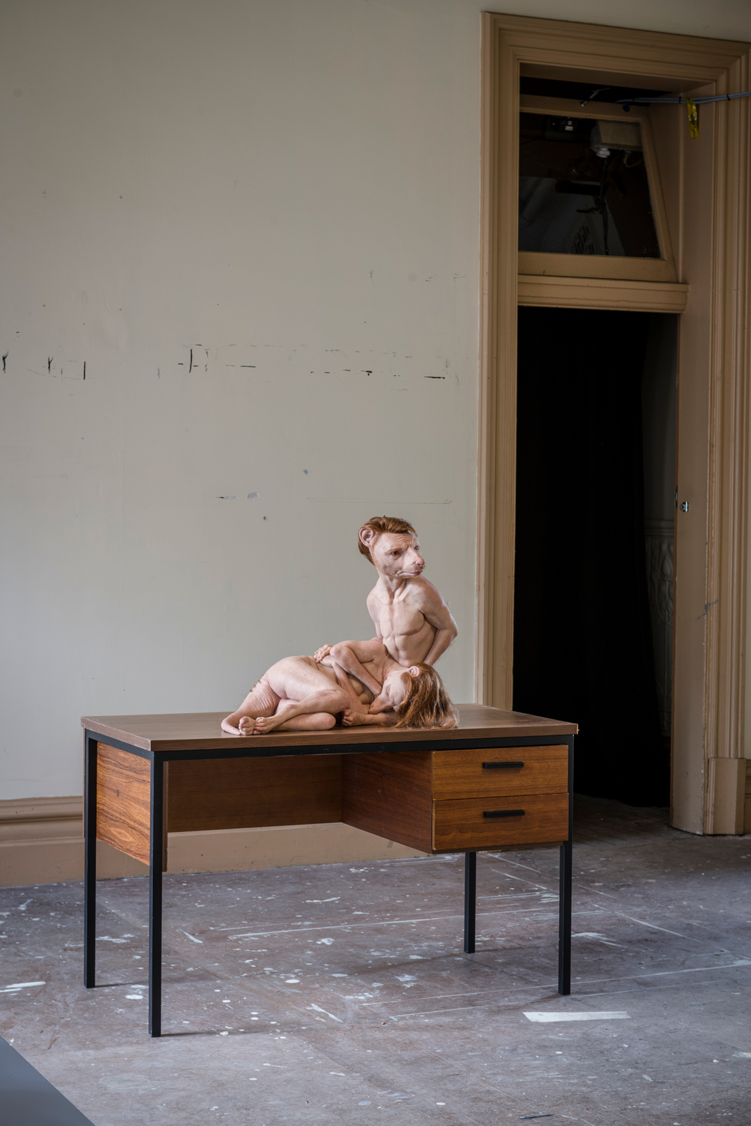 While She Sleeps by Patricia Piccinini displayed on a discarded desk from the station's rooms. Photo credit: Eugene Hyland