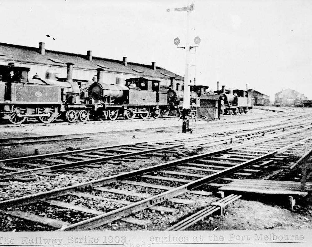 Railway Strike 1903, Steam Locomotives at Port Melbourne. Via Public Records Office of Victoria