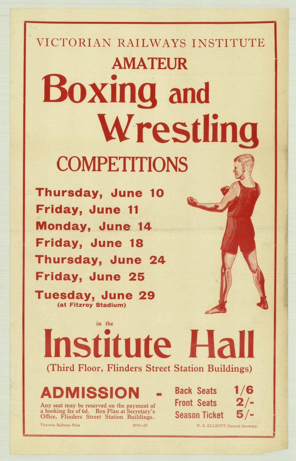 Victorian Railways Institute amateur boxing and wrestling competitions. Credit: Victorian Railways via State Library Victoria